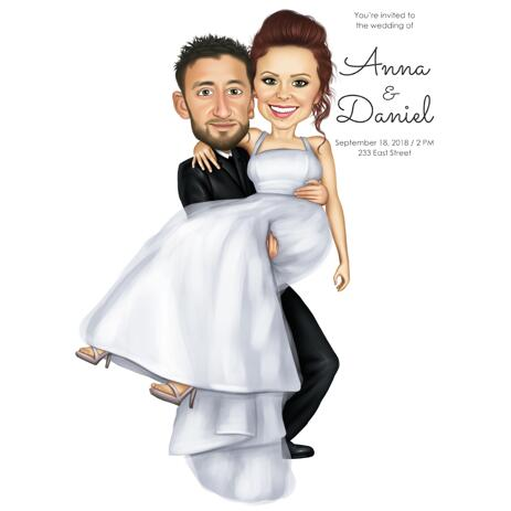 Save the Date - Personalized Wedding Caricature from Photo - example