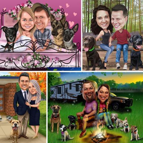 Colored Full Body Couple Caricature with Pets with Custom Background - example