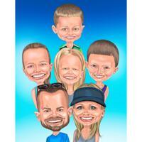 Överdriven familj med barnkarikatyr från foton med en färgbakgrund