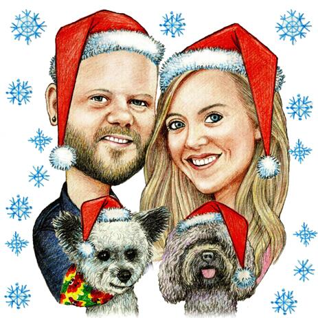 Christmas Caricature of Couple with Dog - Colored Style - example