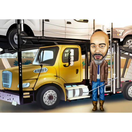 Hand Drawn Truck Driver Man Cartoon from Photos with Custom Background - example