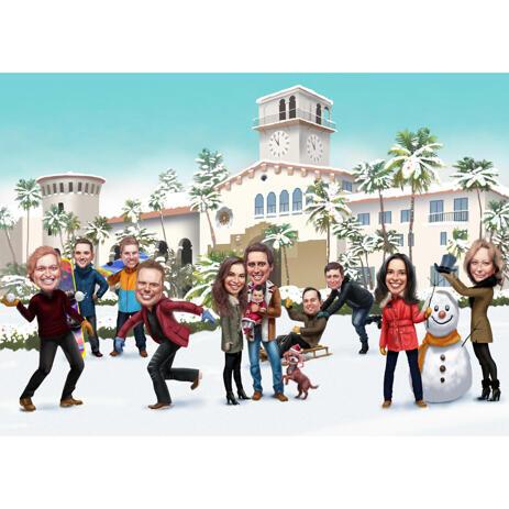 Caricatura di famiglia natalizia personalizzata con sfondo personalizzato - example