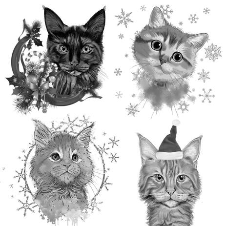 Christmas Cats Caricature Portrait in Black and White Style - example