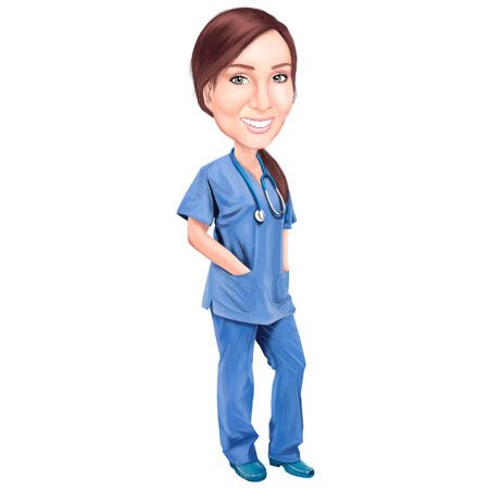 Person Nurse Dialysis Cartoon Paint Drawing in Color Style from Photo - example