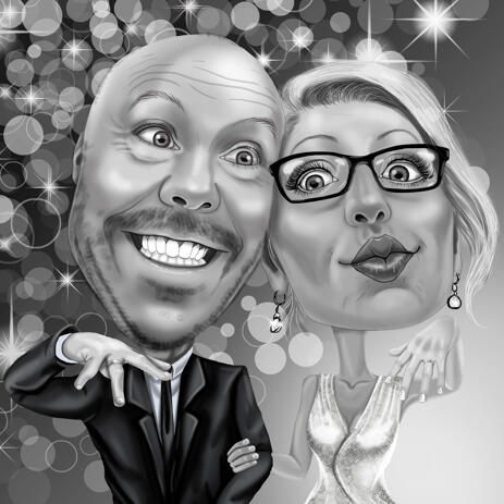 Funny Wedding Caricature of Bride and Groom Showing Rings - example