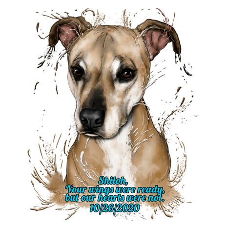 Dog Memorial Portrait in Natural Coloring Watercolor Style - example