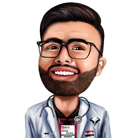 Doctor Colored Caricature from Photos for Doctor's Day Gift - example