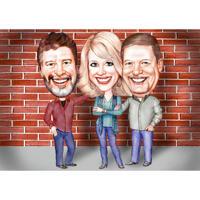 Drie personen volledige lichaam hoge karikatuur Cartoon portret met eenvoudige achtergrond