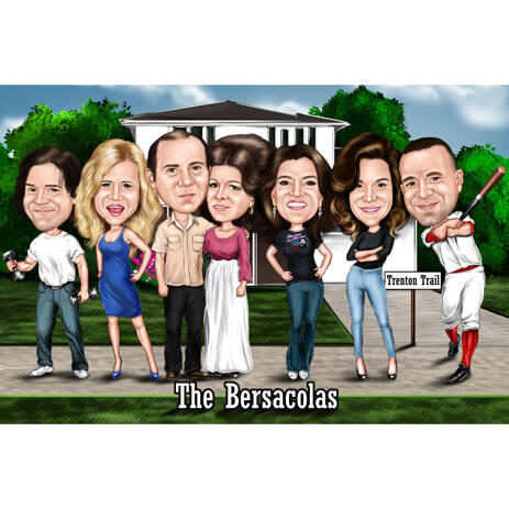 Group Caricature from Photos with Custom Background for Gift - example