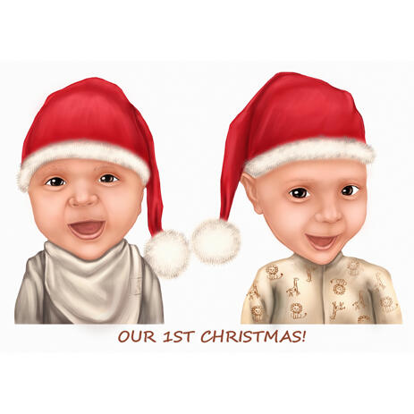 Christmas Kids Caricature from Photo for Christmas Gift - example
