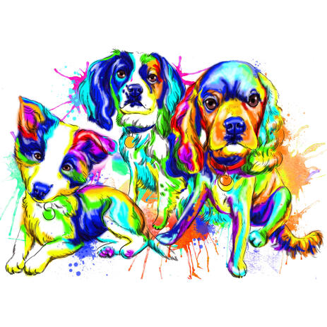 Mixed Dog Breeds Full Body Caricature Portrait in Rainbow Style from Photos - example