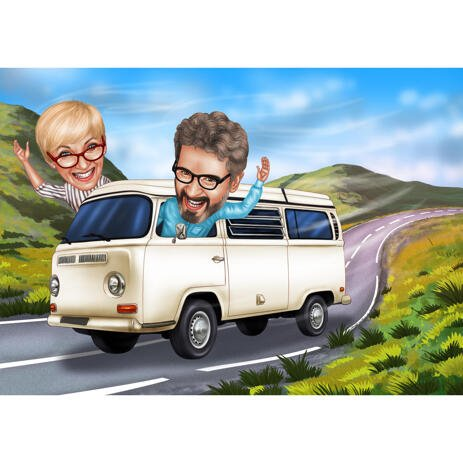 Traveling Couple by Bus Caricature in Color Style with Custom Background - example