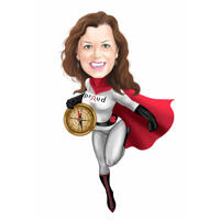 Custom Superhero Employee Caricature with Company Logo on Chest