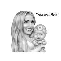 Mor med baby pige tegneserie tegning fra fotos i sort / hvid digital stil