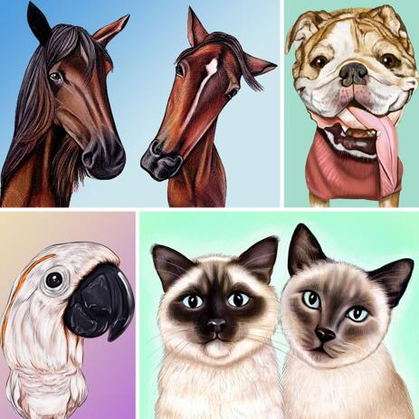 Any Pet Caricature Drawing in Colored Style with Background - example