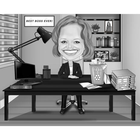 Desk Caricature with Office Background in Black and White Style - example