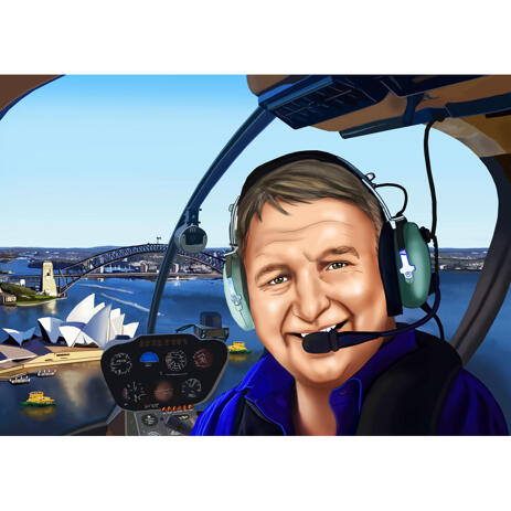 Pilot in Aircraft Caricature from Photos - example