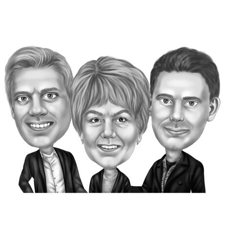 Group Caricature Drawing in Black and White Style for Colleague Birthday Gift - example