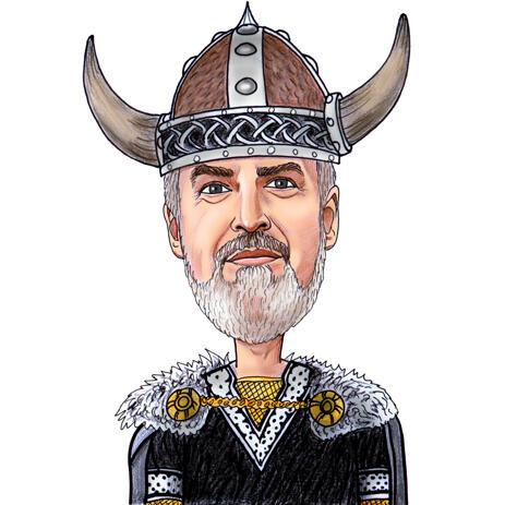 Viking Gift for Men - Custom Viking Portrait Caricature from Photos - example