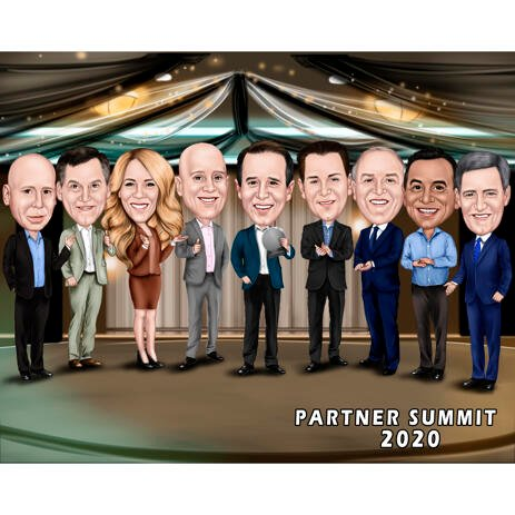 Partners Summit Conference Caricature for Award Gift - example