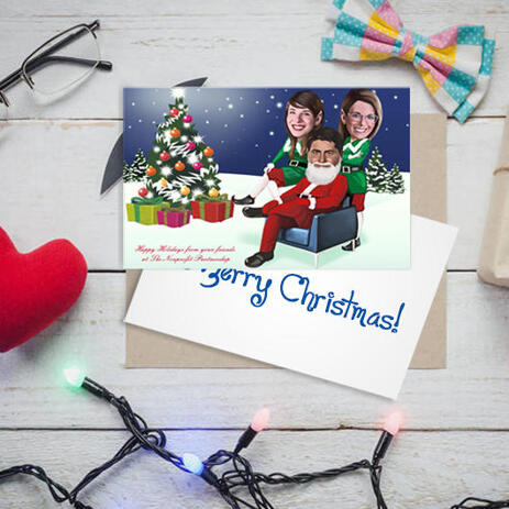Full Body Group Christmas Caricature Set of 10 Cards Gift from Photo on Custom Background - example