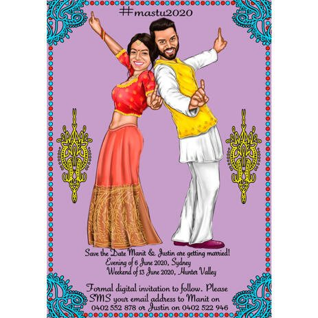Save The Date and Invitation Cards - Couple Indian Wedding and Engagement Themed Caricature Portrait - example