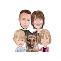 Karikaturgeschenk der Familie und des Deutschen Schäferhundes im farbigen Stil von den Fotos