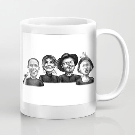 Group Caricature on Coffee Mug - example