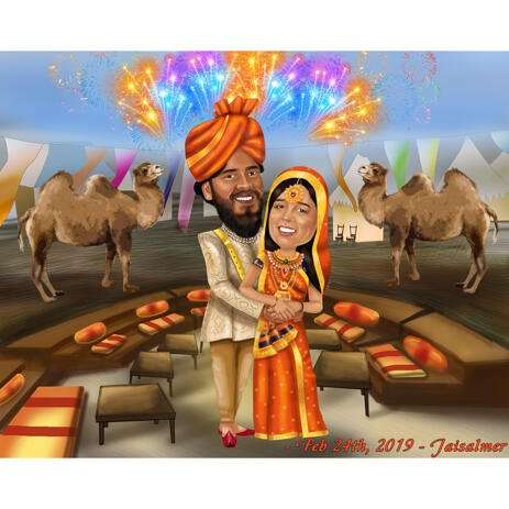 Indian Wedding Caricature on Custom Background for Save the Date Card - example