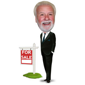 Real Estate Agent Caricature Logo in Colored Style