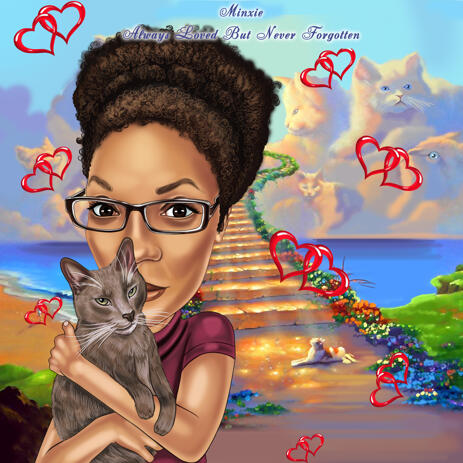 Custom Owner with Cat Memorial Cartoon Portrait from Photos - example