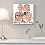 Personalized Print on Canvas: Funny Group Cartoon Drawing in Colored Pencils Style