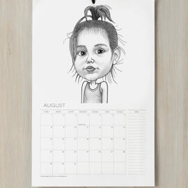 Baby Girl Caricature Printed on Calendar