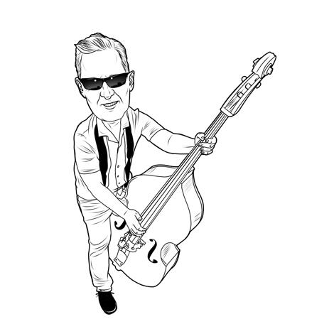 Full Body Musician Caricature in Outline Style for Music Lovers Gift - example
