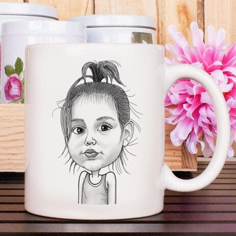 Baby Girl Caricature Printed on Mug - example