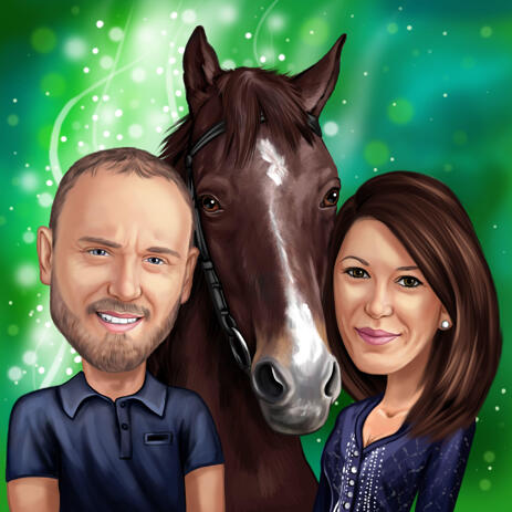 Couple with Horse Colored Caricature Drawing from Photos with Background - example