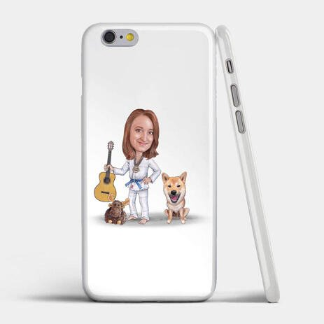 Master and Dog Caricature as Phone Case - example