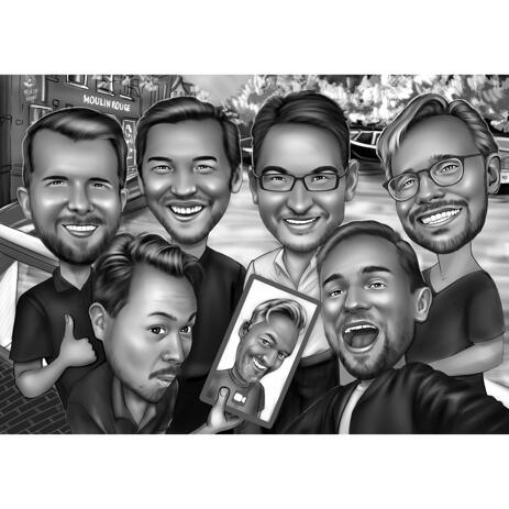 Friends Caricature for Custom Friendship Gift in Black and White - example