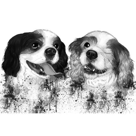 Dogs Graphite Watercolor Portrait Cartoon from Photos for Custom  Pet Rescue Gift - example