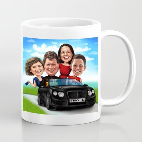 Семья в автомобиле Карикатурный рисунок в цветном стиле, отпечатанный на кружке - example