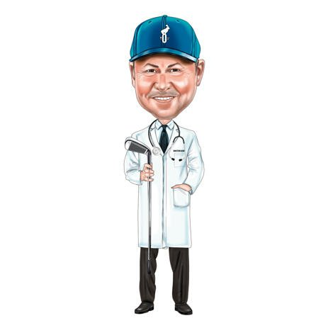 Full Body Doctor Golfer Caricature in Colored Style from Photos - example