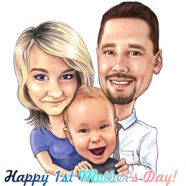 First Mother's Day Gift - Family Caricature from Photos