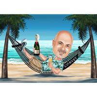 Chef im Urlaub - individuelles Karikatur-Geschenk vom Foto für den Chef-Tag