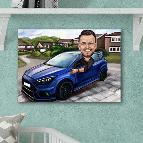 Man in Car Colored Caricature with Custom Background on Canvas for Dad Gift - example