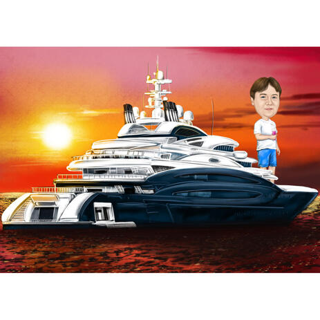 Sailor on Yacht Caricature from Photos - example