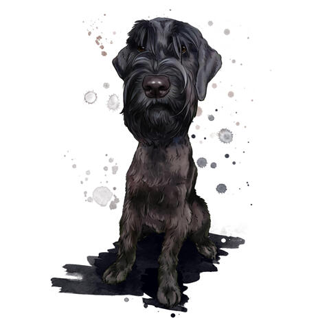 Customized Watercolor Giant Schnauzer Dog Cartoon from Photos in Natural Colors - example