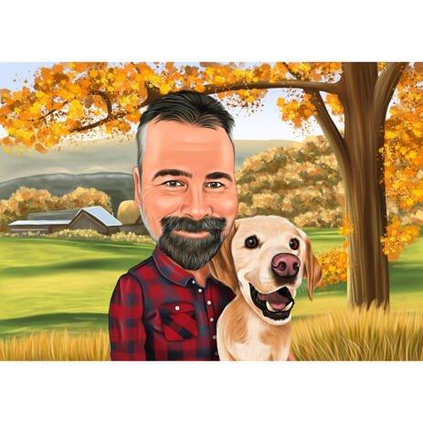 Owner with Pet Caricature with Autumn Background - Gift Idea for Pet Lovers - example