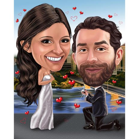 Engagement Couple Caricature with Gem on Custom Background for Proposal - example
