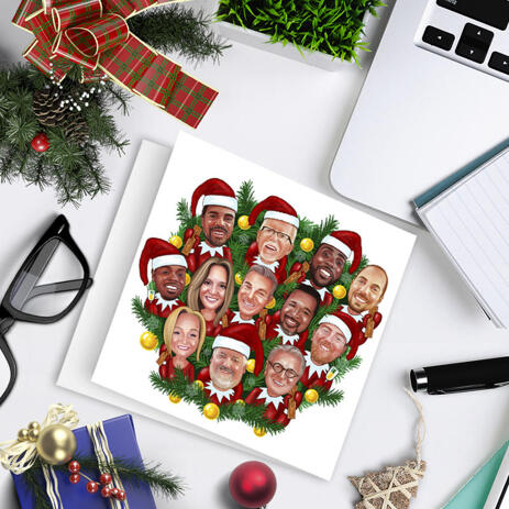 Corporate Company Group in Santa Hats Caricature as Set of 10 Cards for Christmas Gift - example
