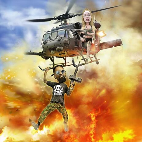 Couple Caricature with Helicopter and Custom Background - example
